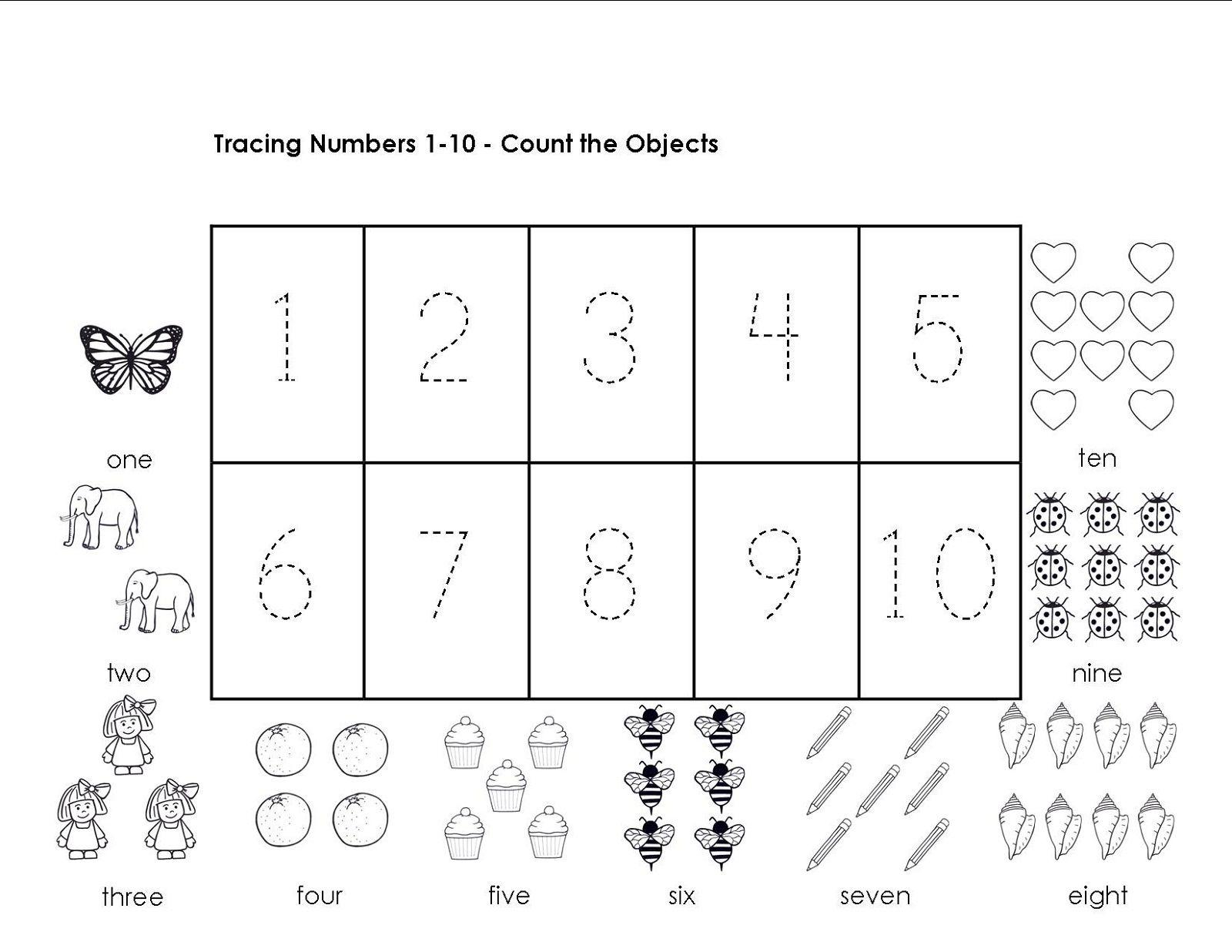 Math Worksheets Numbers 1-5 6