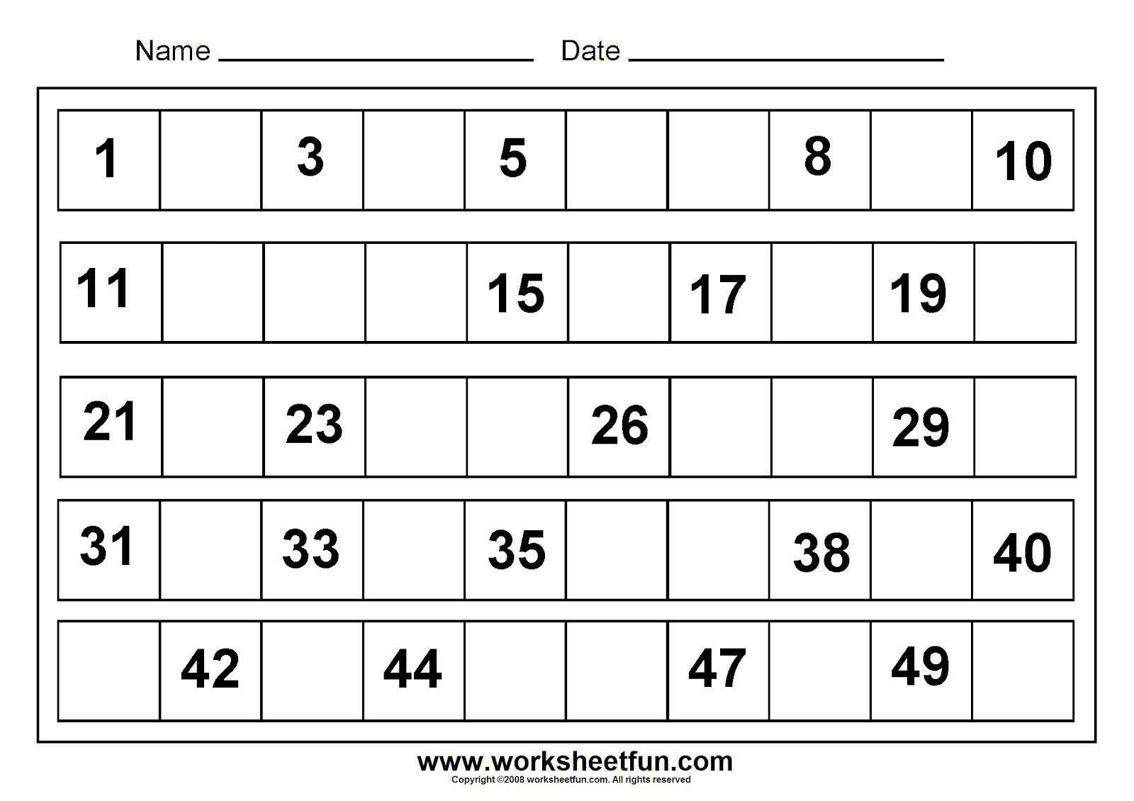 Math Worksheets Numbers 1-50 1