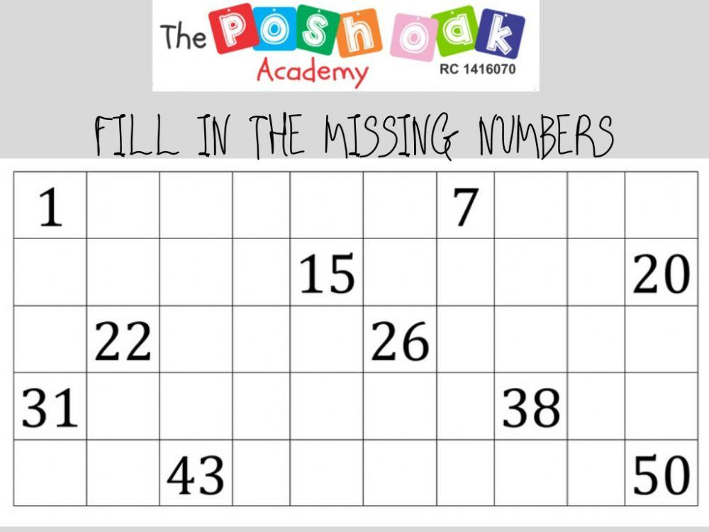 Math Worksheets Numbers 1-50 8