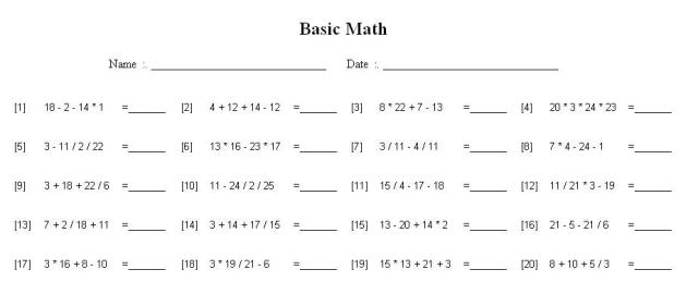 Math Worksheets Order Of Operations