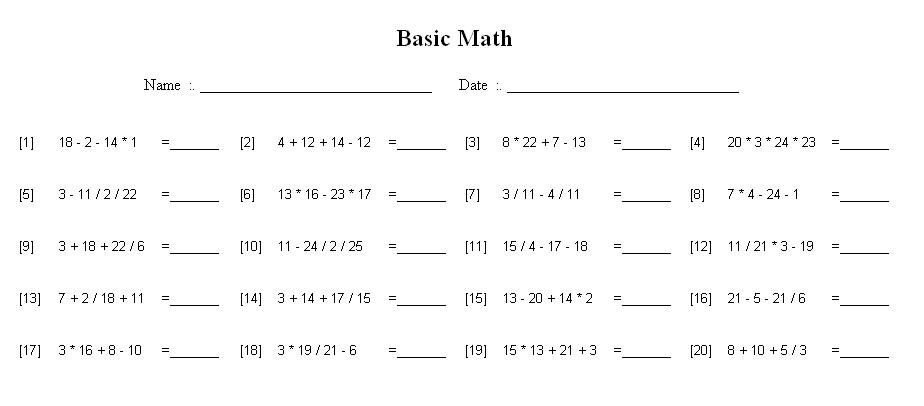 Math Worksheets Order Of Operations 1