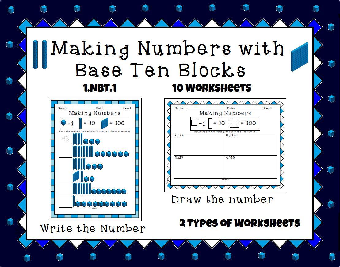 Math Worksheets Using Base Ten Blocks 2