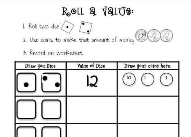 Math Worksheets Using Dice 1