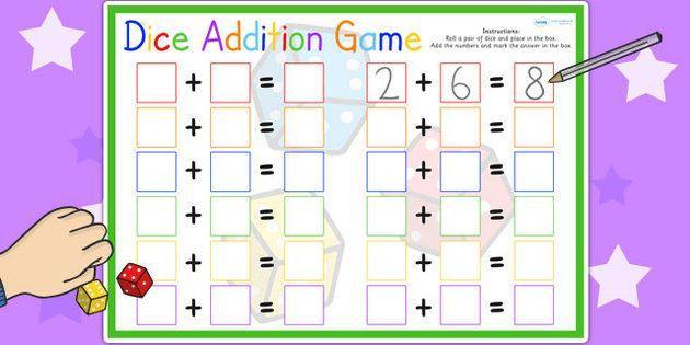 Math Worksheets Using Dice 4