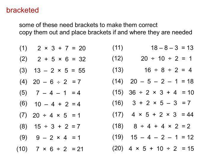 Algebra Bodmas Worksheets 1