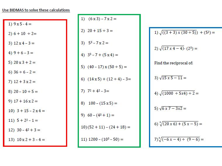 Algebra Bodmas Worksheets 6