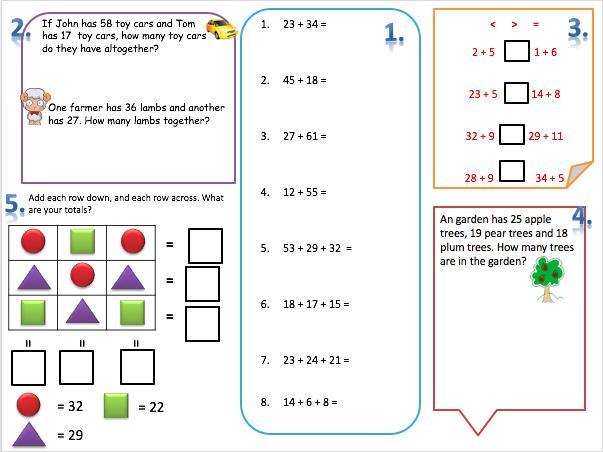 Math Worksheets Grade 2 Addition