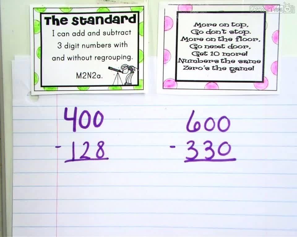 Math Worksheets Subtraction Across Zeros 1