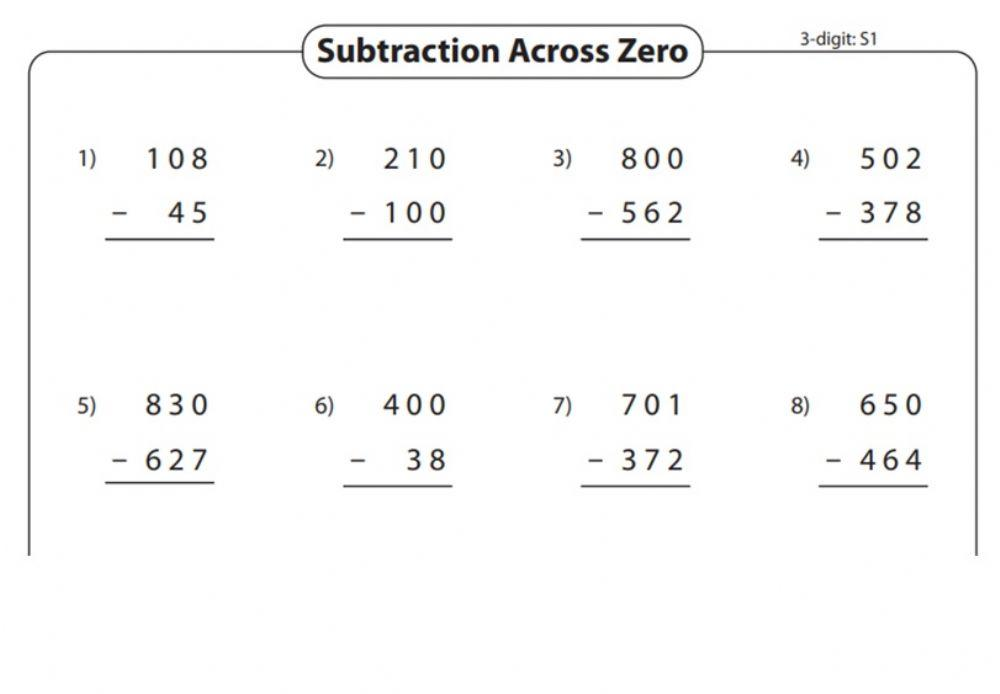 Math Worksheets Subtraction Across Zeros 2
