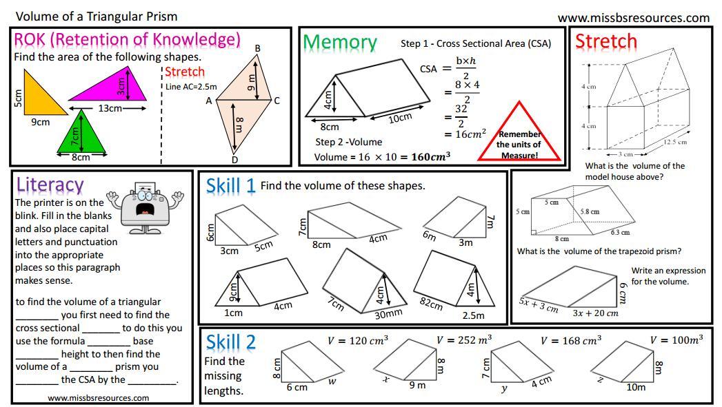 Math Worksheets Volume Of Triangular Prism 8
