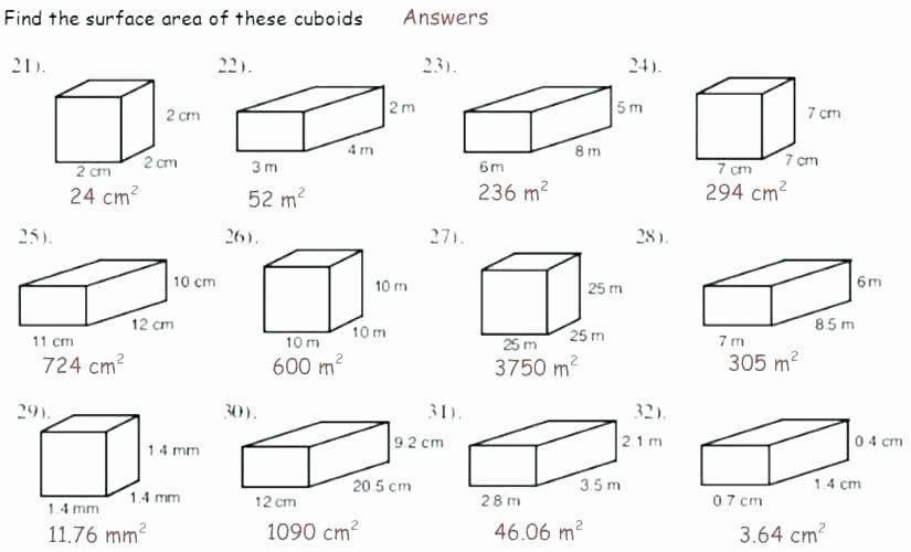 Math Worksheets Volume Rectangular Prism