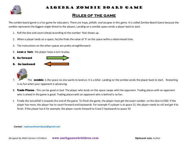 Zombie Hidden Message Math Worksheet Answers