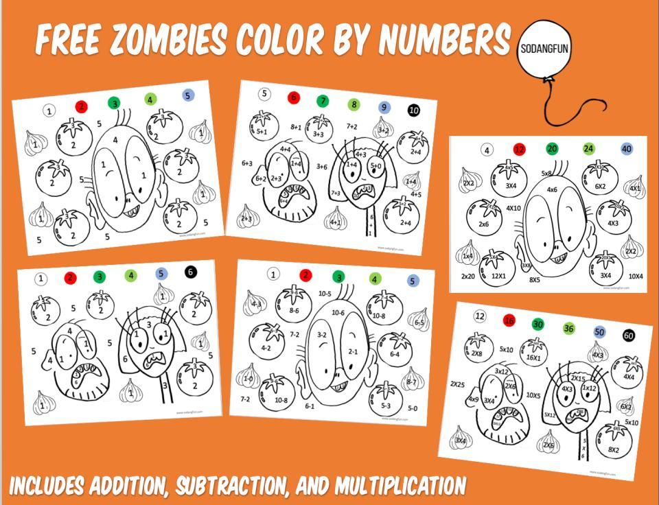 Zombie Math Worksheets 1