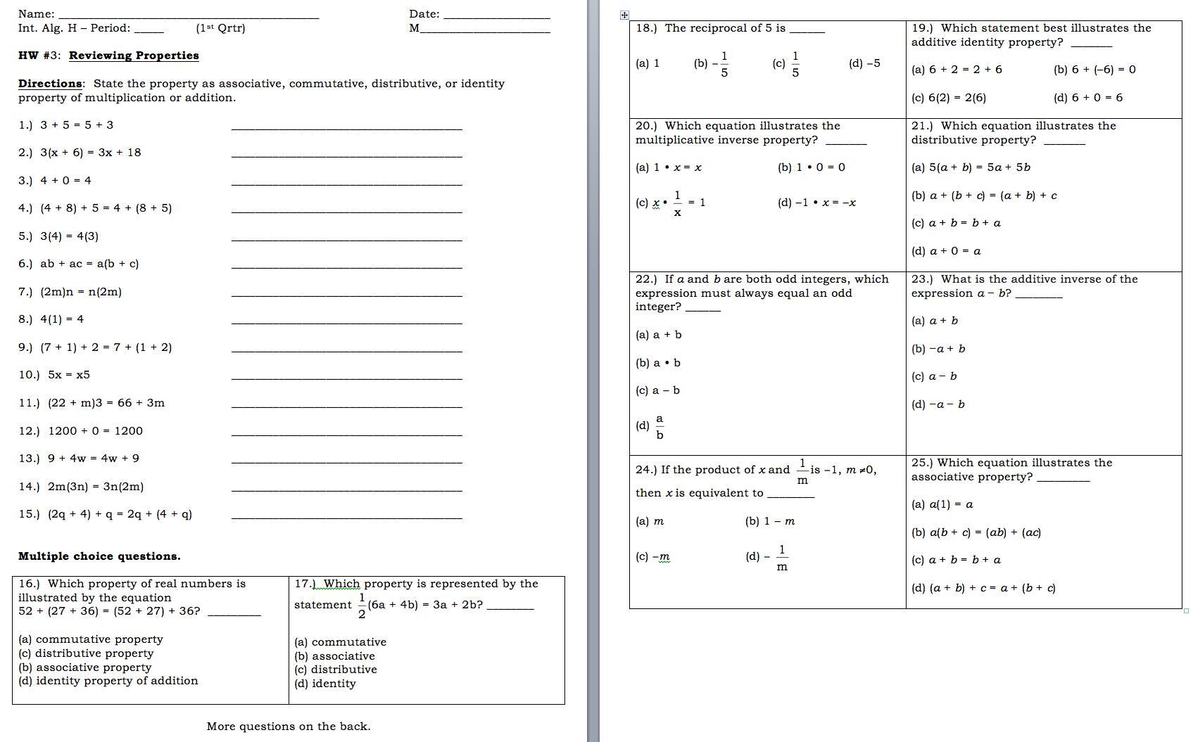 Algebra Adding Like Terms Worksheets