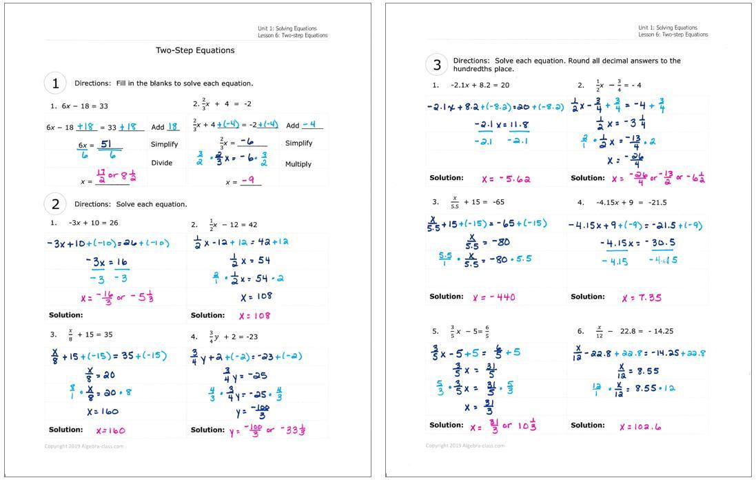 Algebra Coloring Worksheets Free