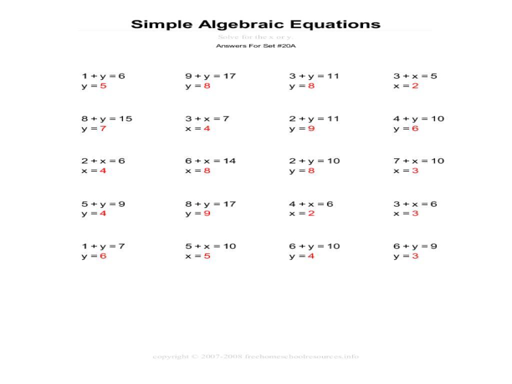 Algebra Made Easy Worksheets