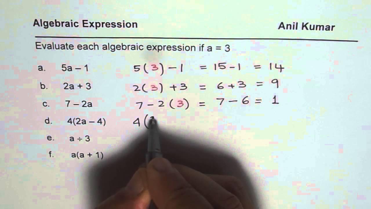 Algebra Worksheet For Class 7