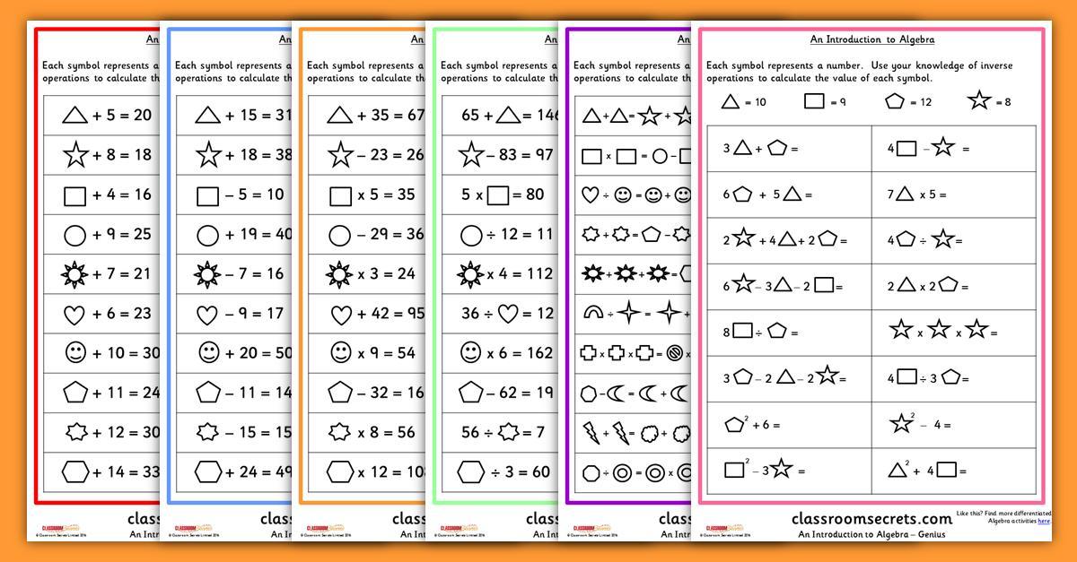 Algebra Worksheets For Year 6 1