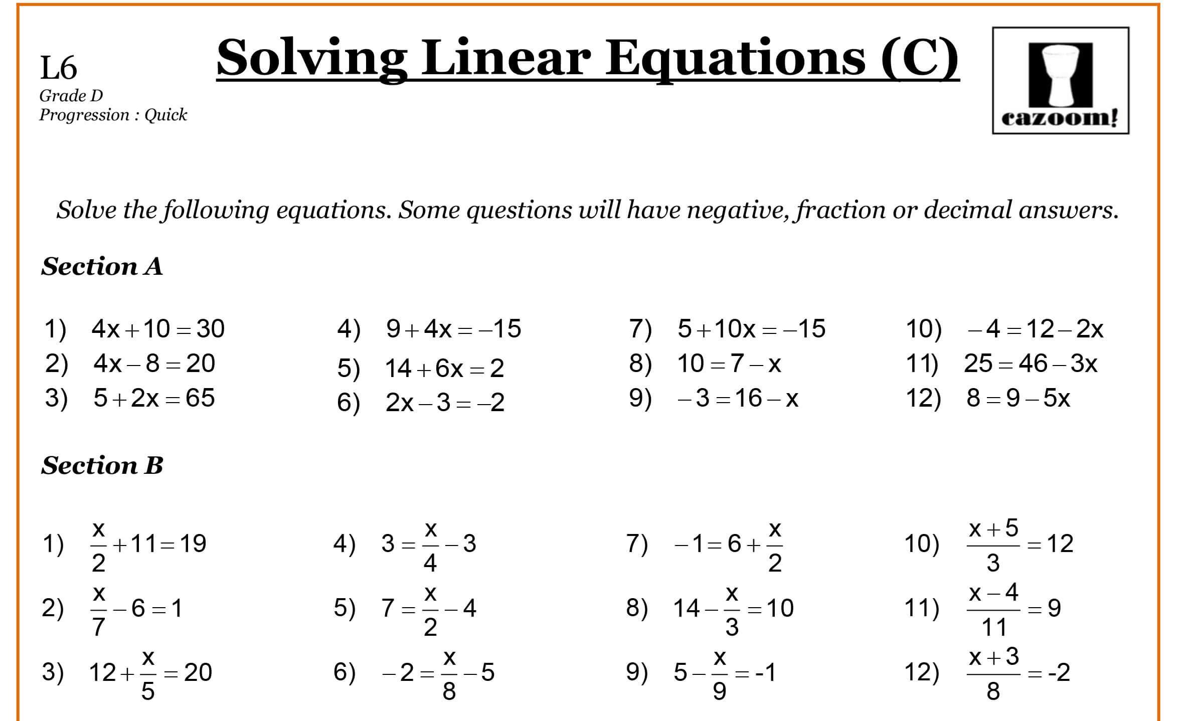 Algebra Worksheets Free 1