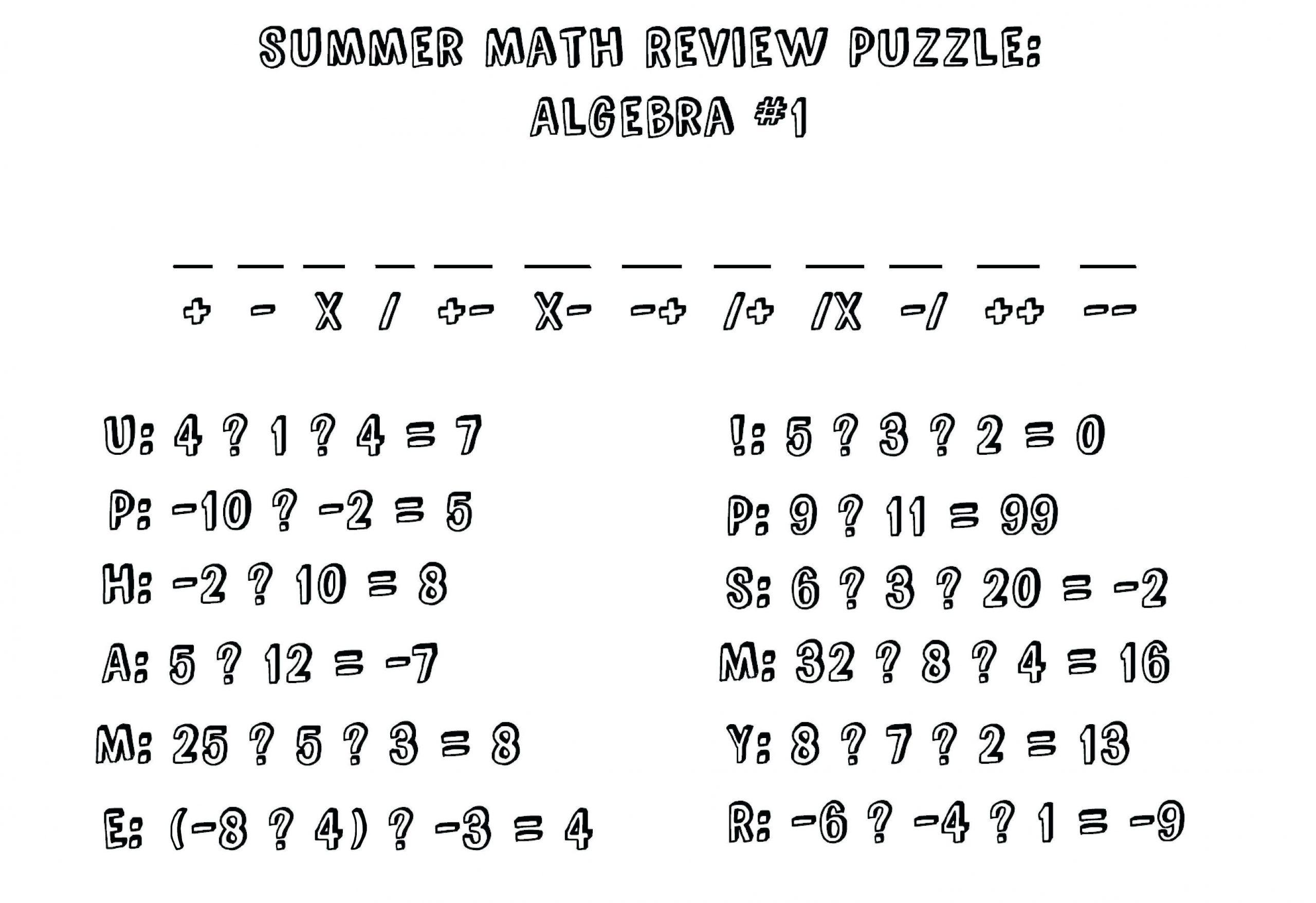 Algebra Worksheets Ks2 1