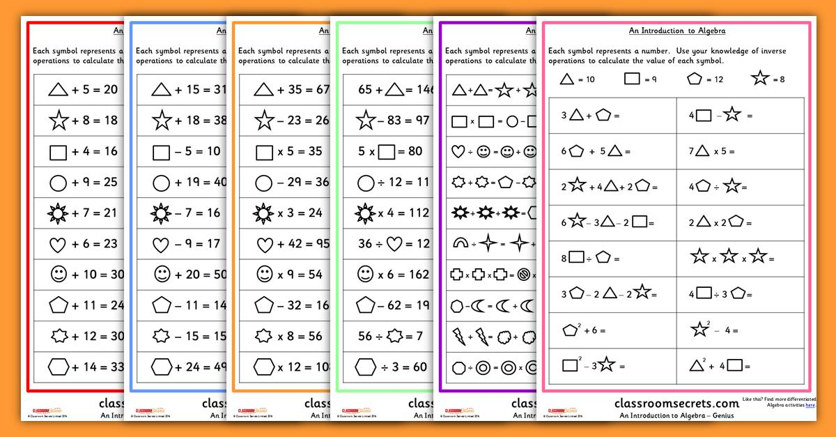 Intro Algebra Worksheets