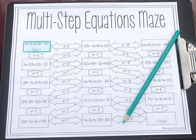 Algebra Worksheets Multi Step Equations