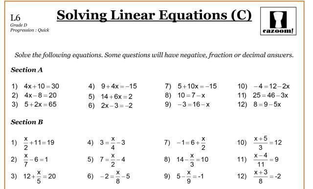 Algebra Worksheets Linear