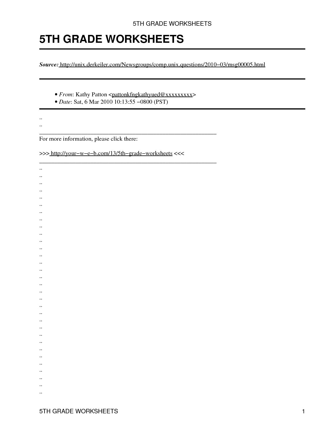 5th Grade Grammar Worksheets Best Kids Worksheets