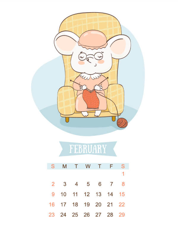 Cute Calendar For 2020 (Year Of The Rat Calendar)