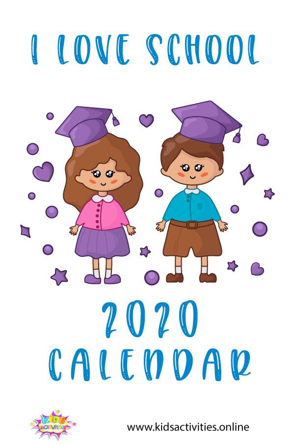 School Calendar 2020 Template, pdf download