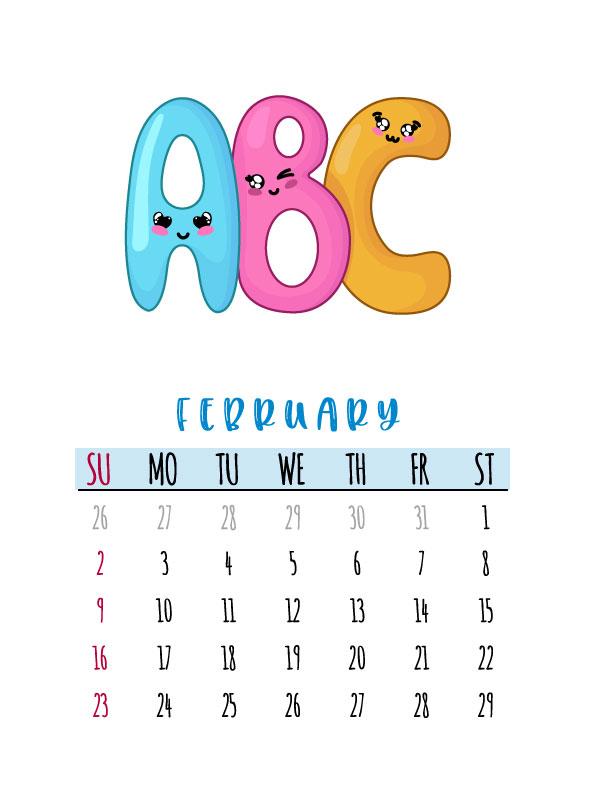 abc monthly calendar