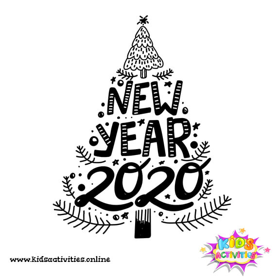 cartoon cute new year doodle 2020 for kids