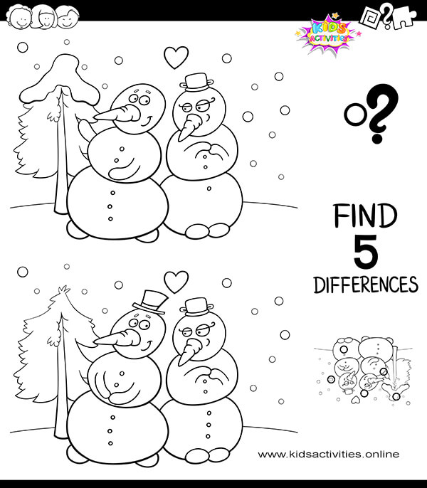 Snowman Finds Differences Activity For Kids