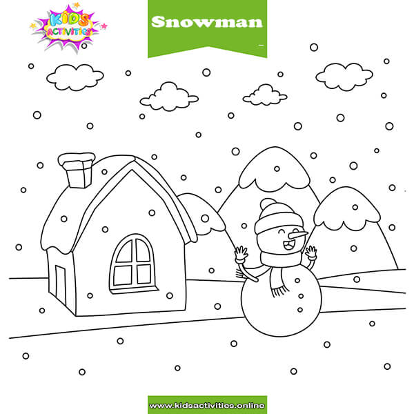 Snowman Coloring Pages for Kids - Free Preschool Snowman Worksheets