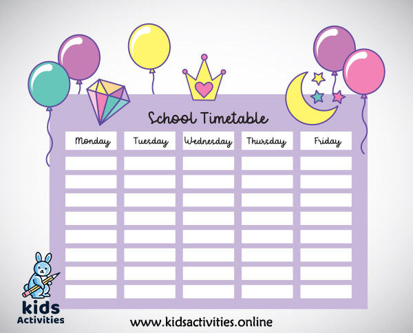 cute beautiful timetable