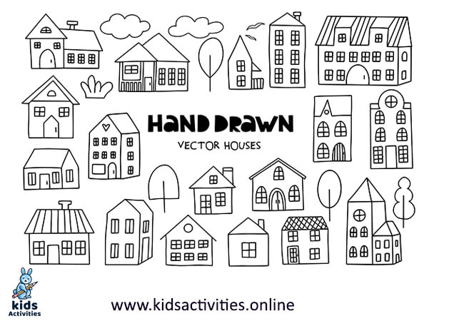 simple hand-drawn houses white doodle art easy