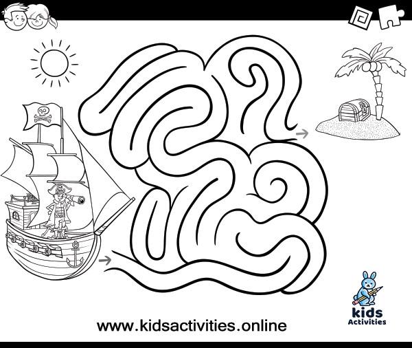 Free Printable black and white Mazes for Kids