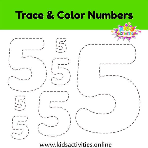 Worksheet Tracing Numbers: 5