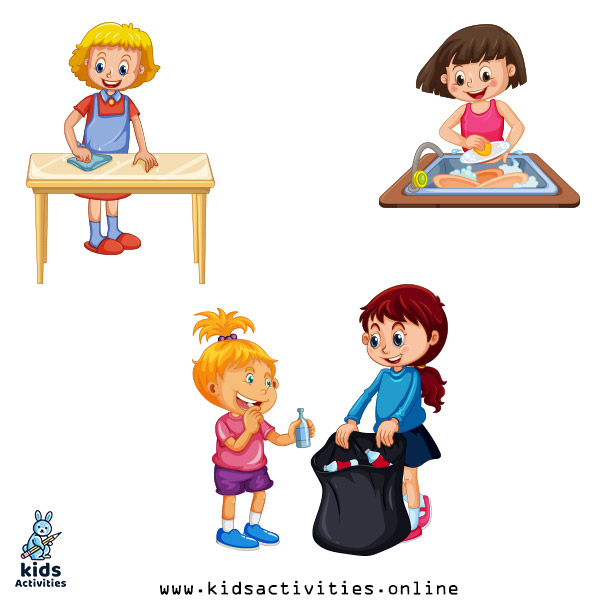 Kids Cleaning House Clip Art