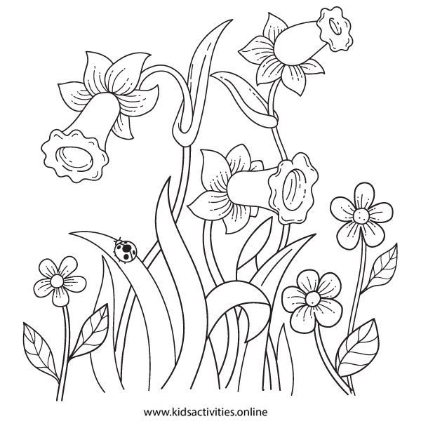 Spring Flowers Coloring Pages For Adults Printable