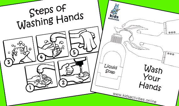 free hand washing coloring pages