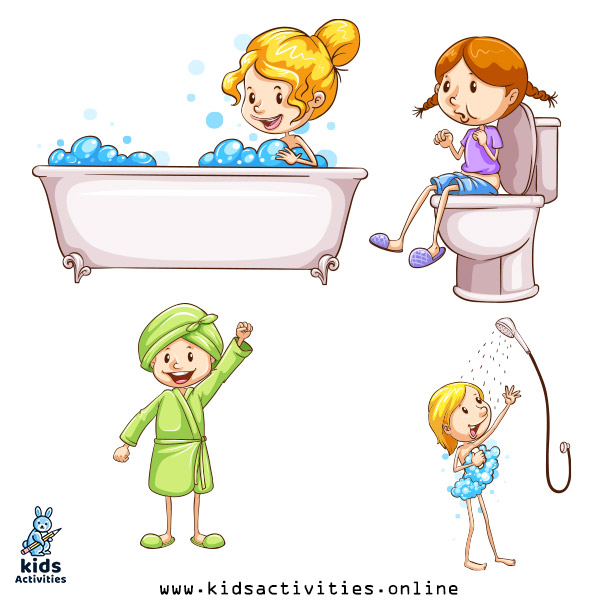 Personal hygiene kor kids clipart