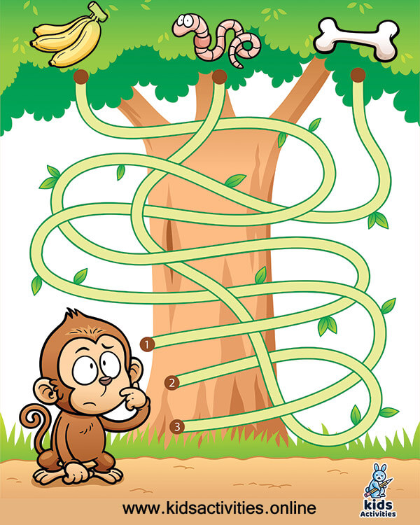Education maze game monkey with food