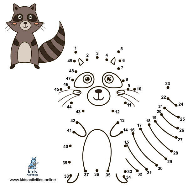 Connect the dots to draw the cute raccoon