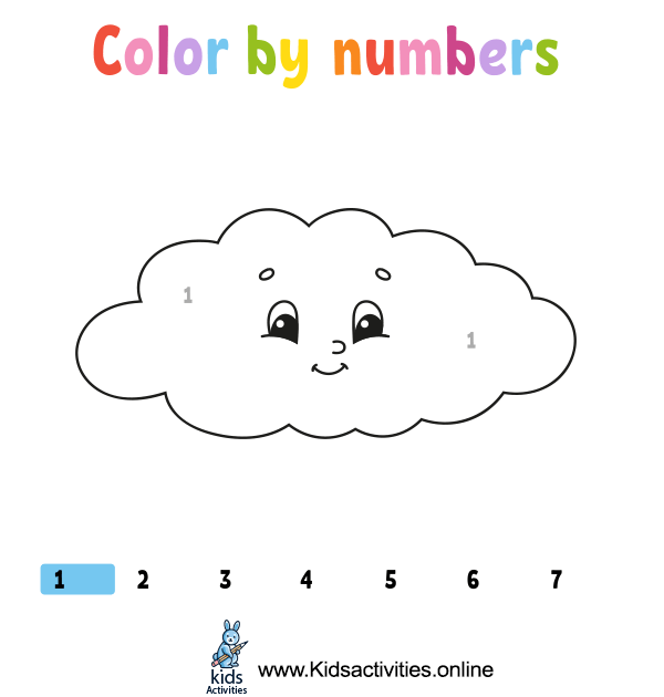 Color cute cartoon by numbers