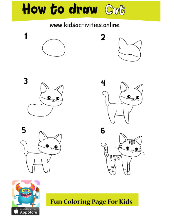 How To Draw Cute Cartoon Animals Easy cat
