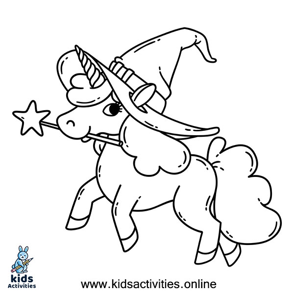 Halloween unicorn coloring page