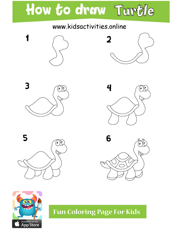 Turtle drawing step by step