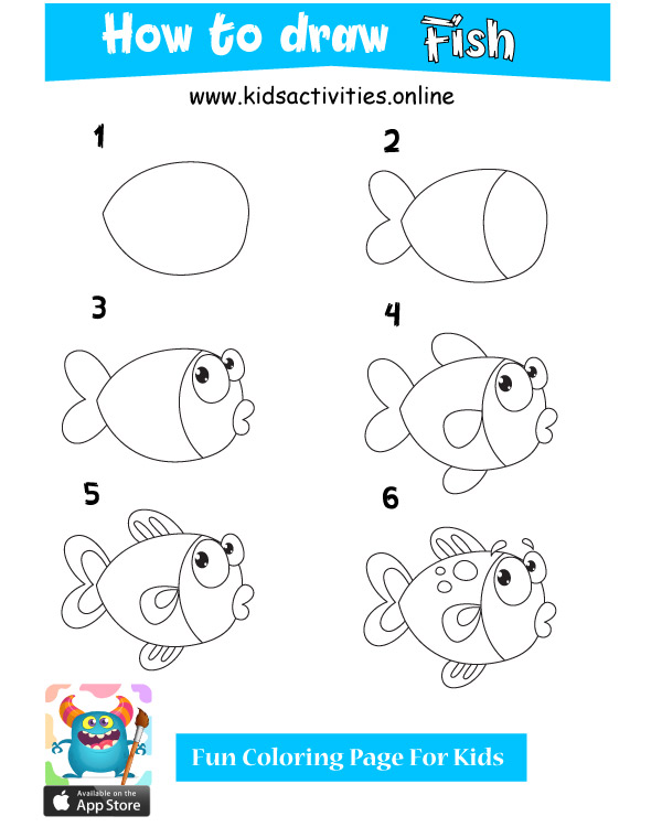 Cute fish drawings - how to draw cute animals