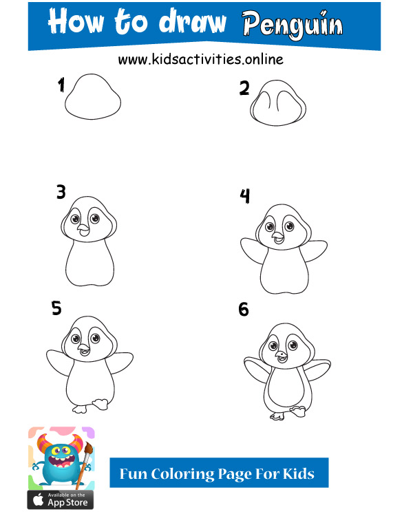 penguin drawing - how to draw cute animals
